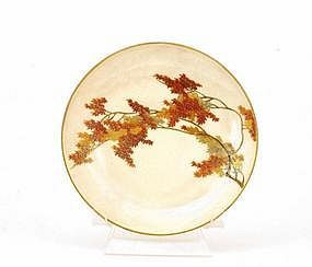 Japanese Satsuma Maple Leaf Plate Yabu Meizan
