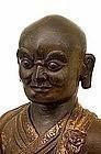 Lg 19C Chinese Tibetan Repousse Gilt Bronze Buddha