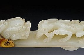 19C Chinese White Jade Nephrite Hand Mirror w Dragon