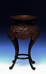 Old Chinese Wood Craved Lotus Footed Stand