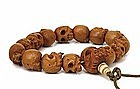 19C Japanese Boxwood Skull Skeleton Netsuke Bead