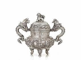 Old Chinese Export Silver Repousse Censer w Dragon Dog