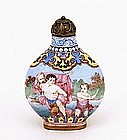 Chinese Export Enamel Cloisonne Snuff Bottle Cherub