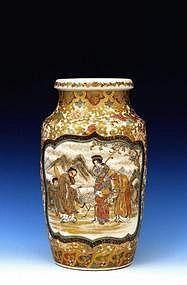 19C Japanese Meizan Satsuma Vase with Figure