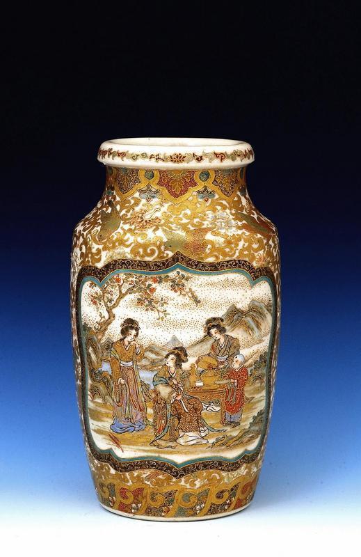 19C Japanese Meizan Sei Satsuma Vase with Figure