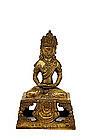 18C Chinese Tibetan Gilt Bronze Quan Yin Buddha Mk