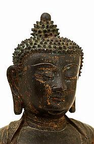 17C Chinese Gilt Lacquer Bronze Buddha Shakyamuni