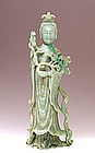 Lg Old Chinese Apple Green Jadeite Jade Quan Yin Figure