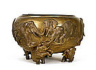 Meiji Japanese Bronze Elephant Hibachi Planter Bowl Pot
