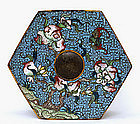 18C Chinese Gilt Bronze Cloisonne Hexagon Box Flower
