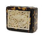 17C Chinese White Jade Nephrite Plaque Box
