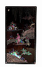 18C Chinese Lacquer Lac Burgaute Pearl Screen Figure