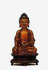 16C Chinese Ming Gilt Lacquer Bronze Buddha Lotus
