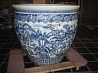 Lg 19C Chinese Blue & White Porcelain Fish Bowl Figure