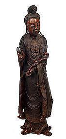 Lg 19C Chinese Lacquer Wood Quan Yin Buddha Figure