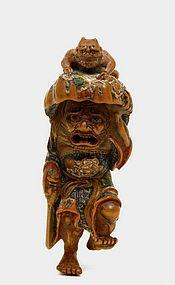 19C Japanese Wood Netsuke Shoki Oni Devil Figurine