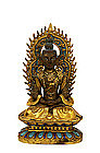 18C Chinese Enamel Gilt Bronze Buddha Quan Yin Figure