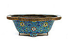 19C Chinese Gilt Cloisonne Bowl Bonsai Planter