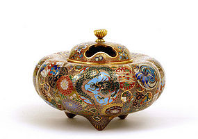 Old Japanese Cloisonne Dragon Censer Butterfly
