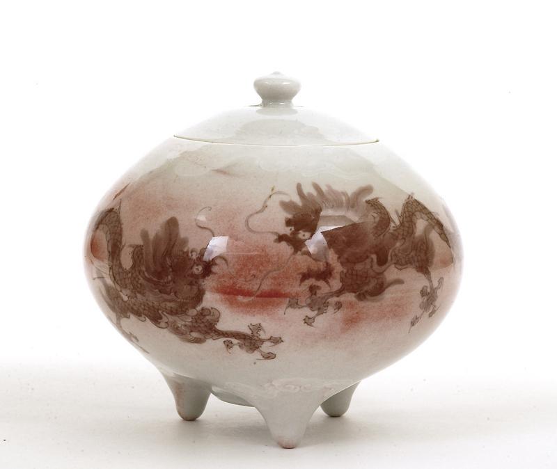 Old Japanese Studio Makuzu Kozan Dragon Jar Sg