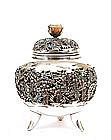 Meiji Japanese Silver Enamel Cloisonne Censer Sg