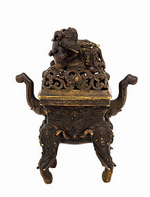 18C Chinese Bronze Elephant Censer Incense Burner