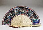 Old Chinese Export Painting Fan Ivory LacqBox