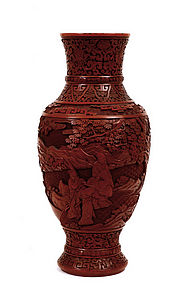 Late 18C Chinese Cinnabar Red Lacquer Vase Figure