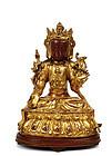 16C Chinese Gilt Lacquer Bronze Buddha Quan Kwan Yin