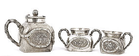 19C Chinese Silver Bamboo Tea Set Teapot  Marked