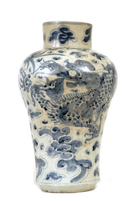 Lg Early 19C Korean Blue and White Dragon  Vase