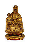18C Chinese Lacquer Boxwood Quan Yin with Baby