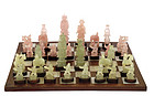 Chinese White Jade Rose Quartz Serpentine Chess Set