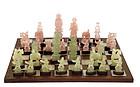 Chinese White Jade Rose Quartz Serpentine Chess Set