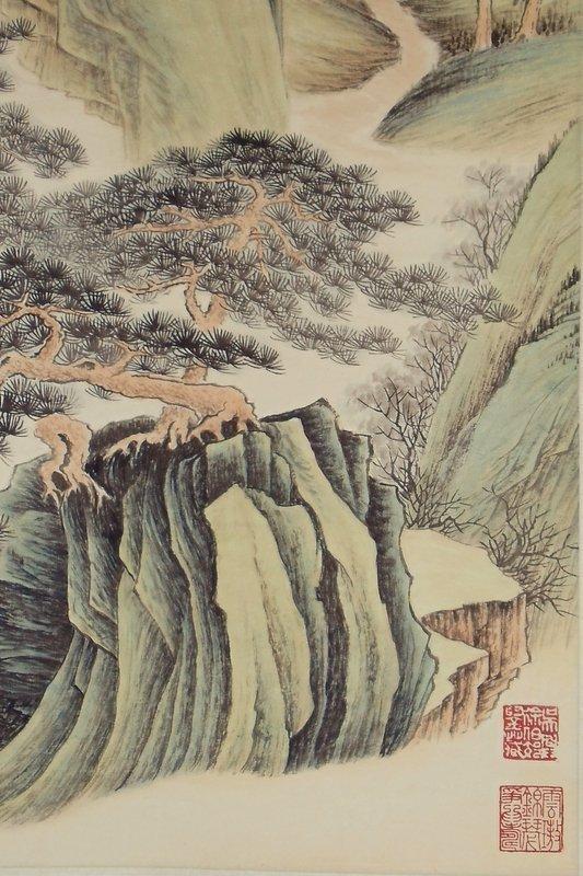 Two Paintings of Verdant Mountains by Zhang Daqian