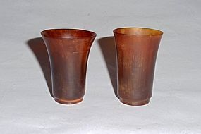 A Pair of Ming Dynasty Rhinoceros Horn Wine-Cups