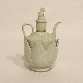 A Qingbai Glazed Wine Pot with Lotus- Shaped Warmer