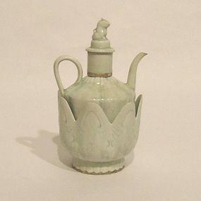 A Qingbai Glazed Wine Pot with Lotus- Shaped Warmer