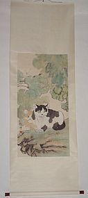 Two Cats on Rock / Xu Beihong (1895-1953)