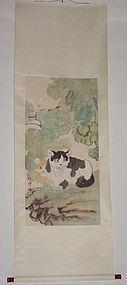 Two Cats on Rock / Xu Beihong (1895-1953)