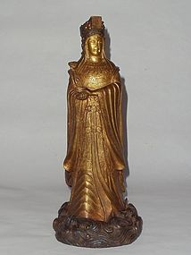 A Rare Gilt Bronze Statue of Mazu of Ming Dynasty Yongle Reign