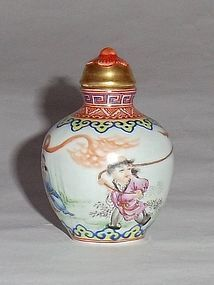 A Famille-Rose Porcelain Snuff-Bottle/Qing Emperor Qianlong Mark