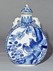 A Blue-White Porcelain Snuff-Bottle with Floral-Bird Motifs