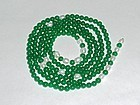 An Exquisite Green Jade/Pearl Bead Necklace