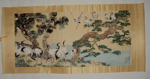 A Longevity Painting of Cranes & Pine-Trees / Xu Beihong (1895-1953)