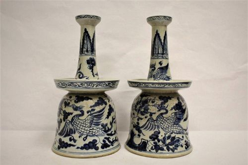 Ming Dynasty Styled Blue-White Candle-Holders/Phoenix-Kilin Motifs