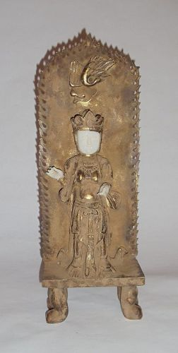 A Sui Dynasty Gilt Bronze Guanyin Inlade with White Jade / Back-Drop