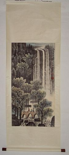 Hanging Scroll of Watching Grand Waterfalls / Li Keran (1907-1989)