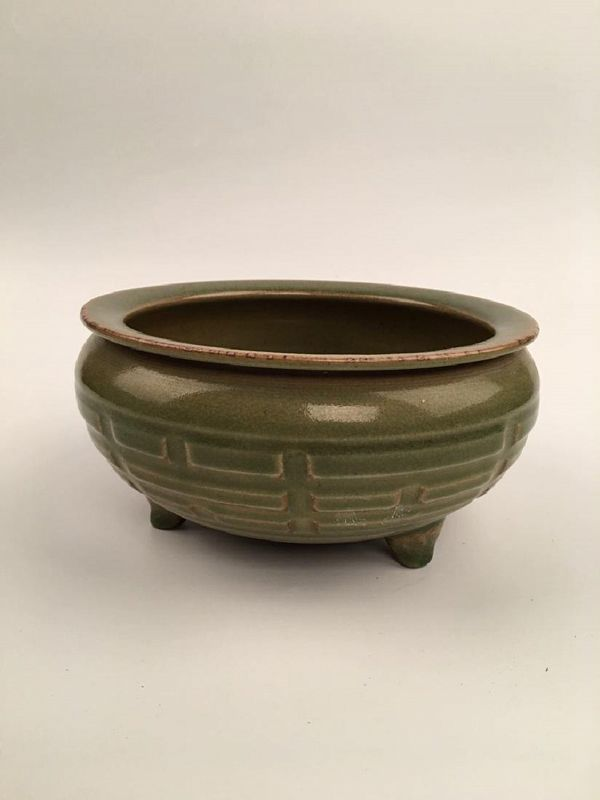 A Rare Yuan Dynasty Longquan Celadon Censor with Eight-Diagram Motifs