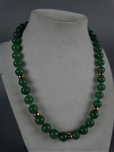 An-Exquisite-Vintage-Green-Jade-Necklace-with-Gold-Spacers  An-Exquis